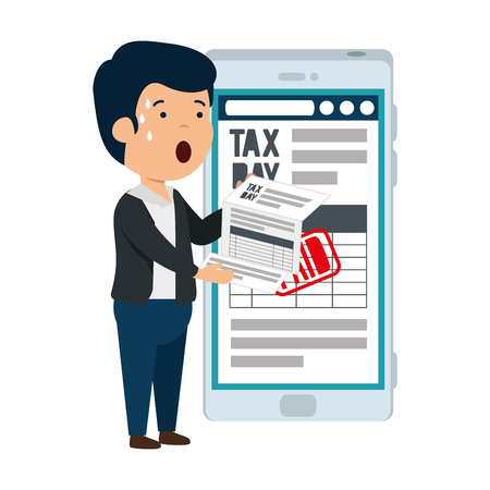 depressed man for money with smartphone and tax documents vector illustration Çizim