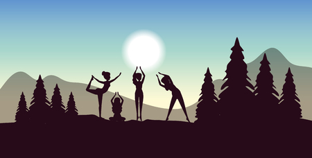 women training yoga posture with trees and mountains vector illustration