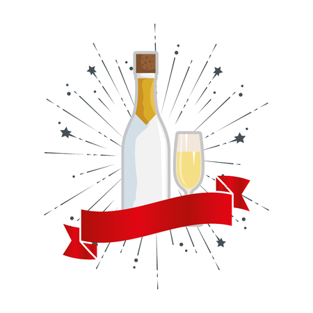 champagne bottle with cup vector illustration design