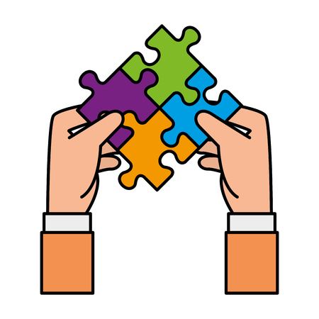 hands lifting puzzle attached solution vector illustration design