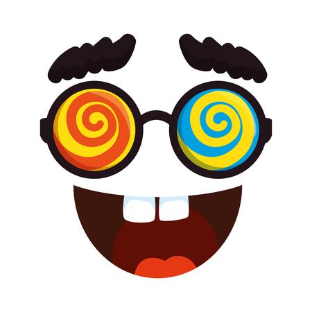 crazy face emoticon icon vector illustration design  イラスト・ベクター素材