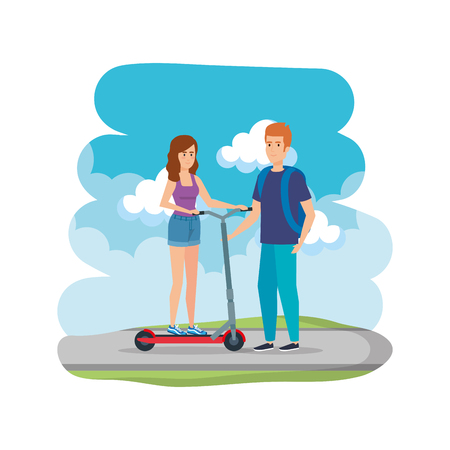 young couple in folding scooter on road vector illustration design