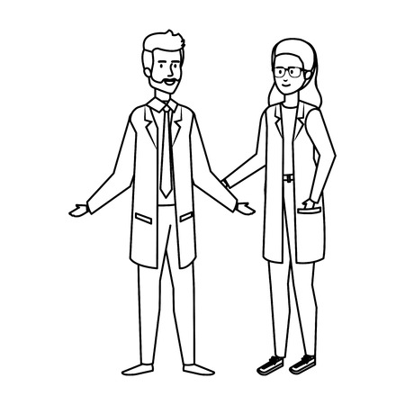 couple of professionals doctors avatars characters vector illustration design