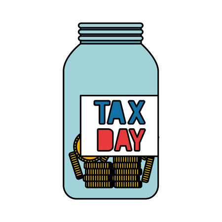 tax day mason jar with coins vector illustration design