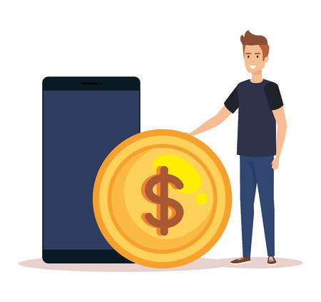 man with smartphone and coin character vector illustration design
