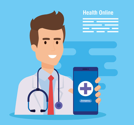 man doctor with stethoscope and smartphone diagnosis vector illustration Illustration