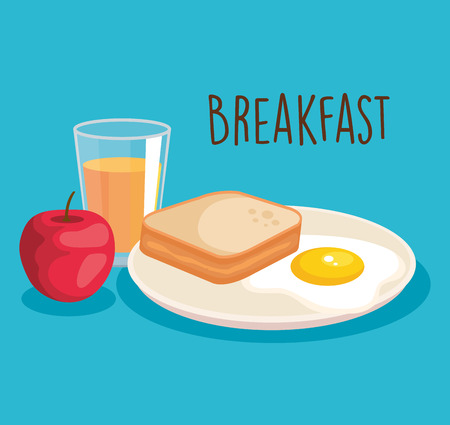 orange juice with fried egg and apple vector illustration