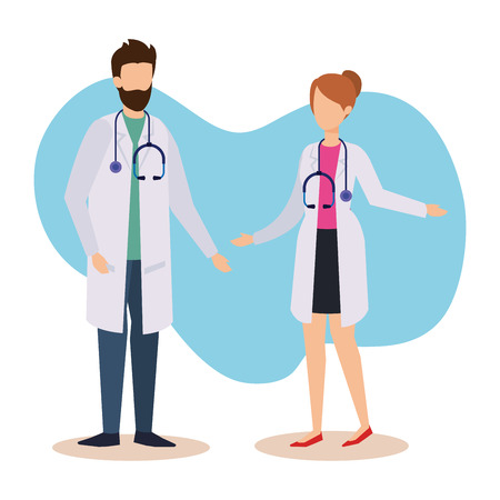 professional man and woman doctors service vector illustration Illustration