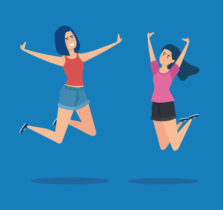 happy girls jumping with hands up and casual clothes vector illustration Ilustração