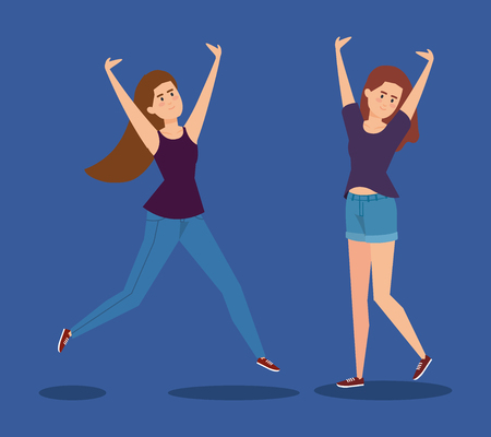happy girls jumping with hands up vector illustration 일러스트