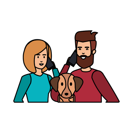 young couple with smartphone and dog characters vector illustration design Foto de archivo - 124175640