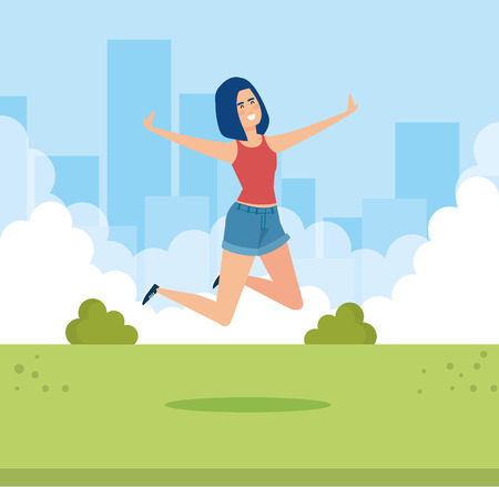 woman jumping in the park with blouse and short vector illustration
