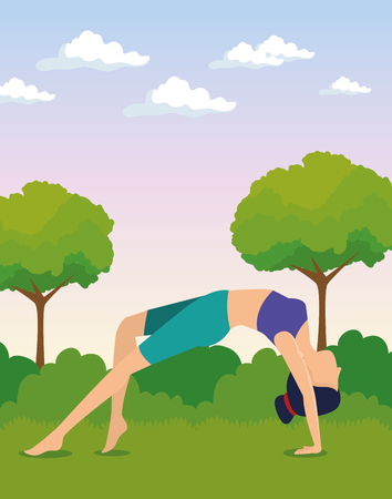 women doing exercise with trees and bushes vector illustration Stock Illustratie