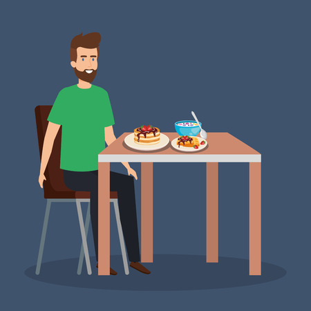 casual man eating pancakes and cereal vector illustration  イラスト・ベクター素材