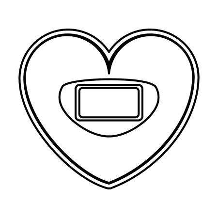 heart shaped scale balance digital icon vector illustration design