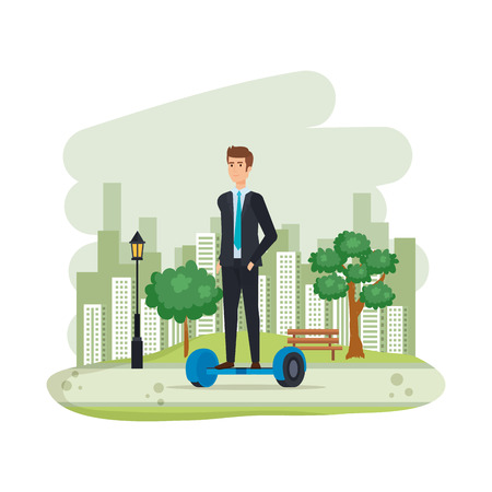 businessman in hoverboard electric in the camp vector illustration design
