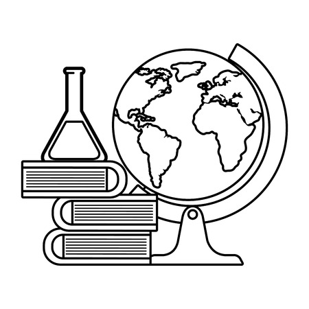 tube test with pile books and world planet vector illustration design