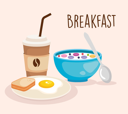 cereal wth fried egg and sliced bread vector illustration  イラスト・ベクター素材