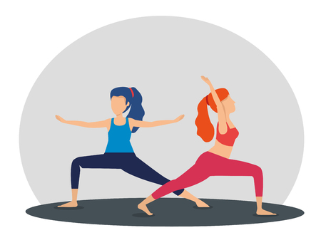 fitness woman doing yoga pose vector illustration
