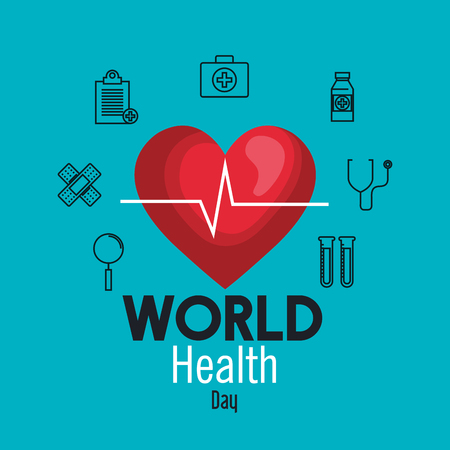 heartbeat with medicine equipment to health day vector illustration