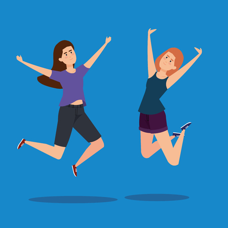 happy girls jumping with casual clothes vector illustration Illustration