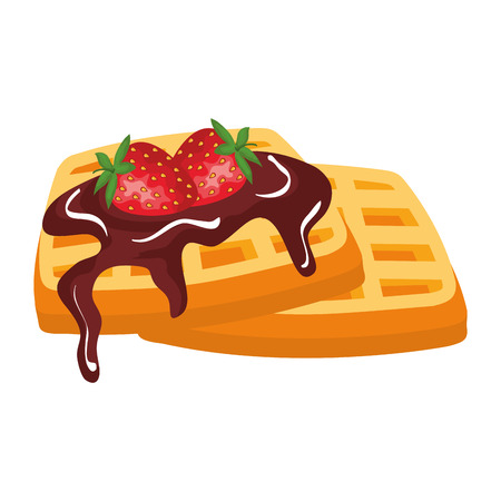 bread toast with chocolate cream and strawberries vector illustration design Banque d'images - 124175790