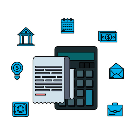 tax document with financial icons vector illustration design Foto de archivo - 124175834