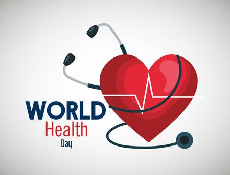 Estetoscopio con latido del corazón para la ilustración de vector de día mundial de la salud