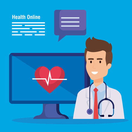 man doctor with stethoscope and computer with heartbeat vector illustration