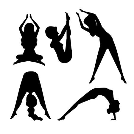 set women doing exercise position vector illustration