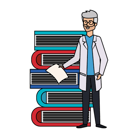professional doctor with pile books avatar character vector illustration design Illustration
