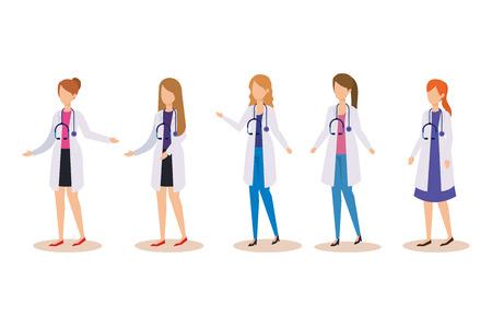set professional women doctors with stethoscope equipment vector illustration Illustration