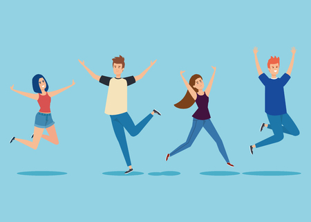 set girls and boys jumping with hands up vector illustration
