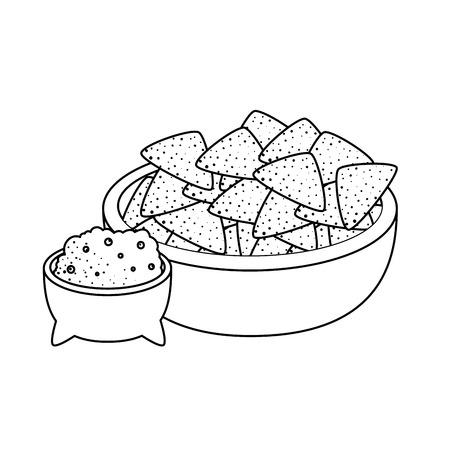 guacamole sauce with hachos vector illustration design Stock Vector - 124175925