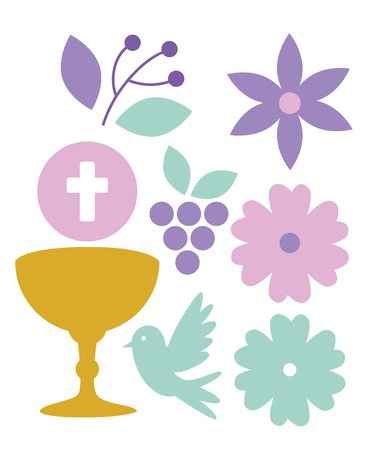 set chalice with holy host to my first communion vector illustration Vettoriali
