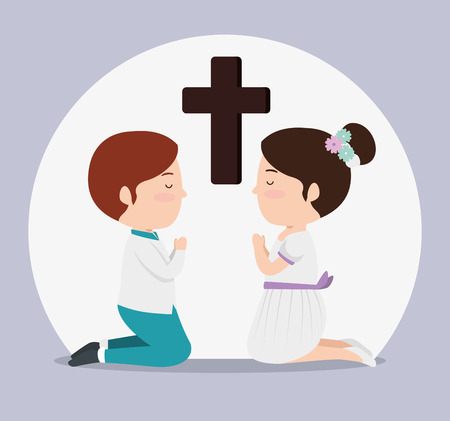 girl and boy with cross to first communion vector illustration