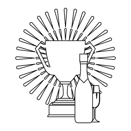 champagne bottle with cup and trophy vector illustration design