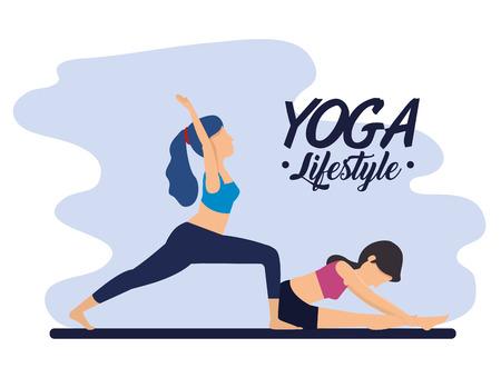 fitness women practice yoga harmony vector illustration
