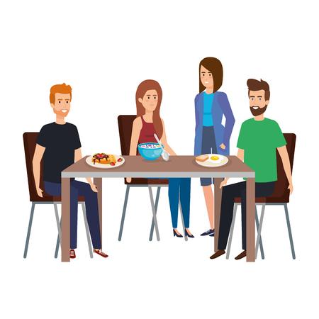 giovani che mangiano in tavola personaggi illustrazione vettoriale design Vettoriali
