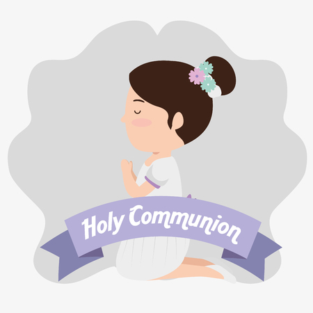 girl with hairstyle and ribbon to first communion vector illustration