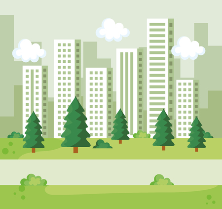 park with pines trees and bushes with building vector illustration