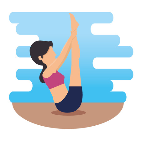 woman doing exercise and body pose vector illustration