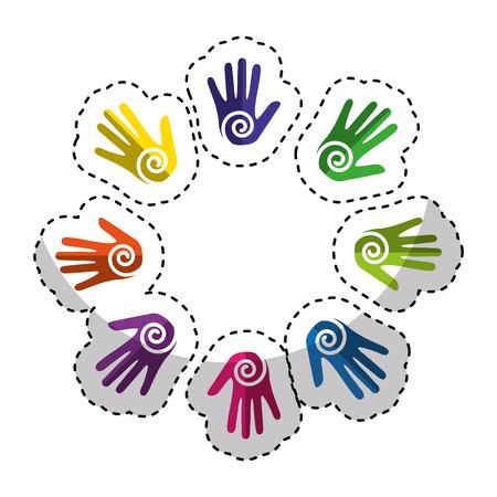 les mains impriment de la peinture autour de la conception d'illustration vectorielle