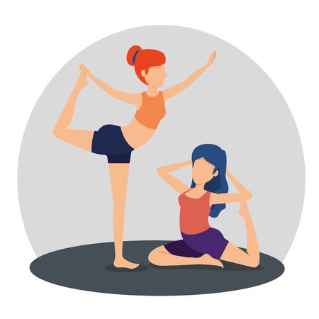 fitness woman practice yoga balance vector illustration