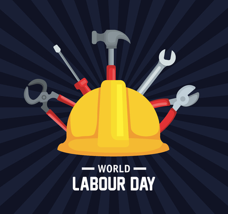 helment with professional equipment to labour day vector illustration