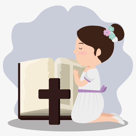 girl with bibble and cross to first communion vector illustration