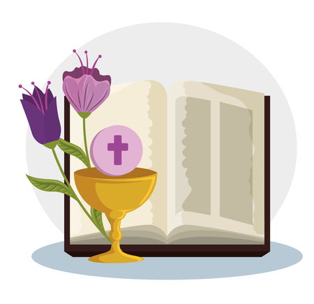 bible with chalice and holy host to first communion vector illustration