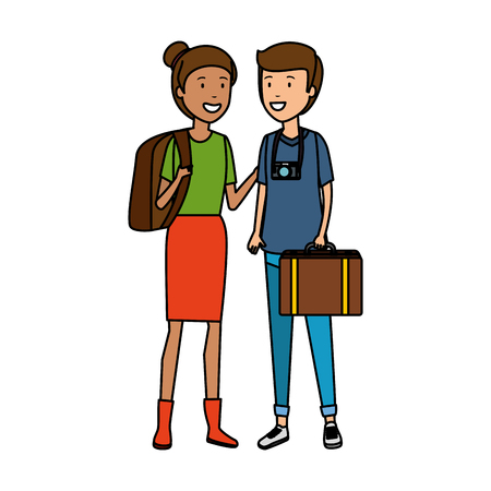 tourist couple with suitcases characters vector illustration design