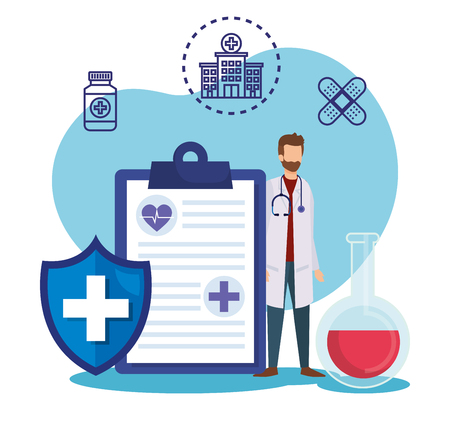 man doctor with check list and shield vector illustration Imagens - 119757312