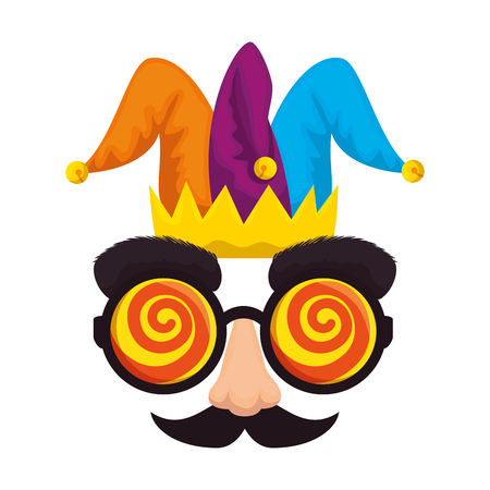 fools day mask glasses and mustache with joker hat vector illustration design Illustration